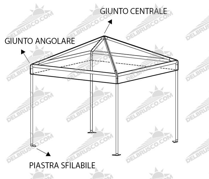 gazebo padiglione roma base quadrata