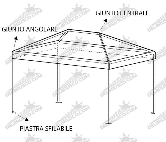 gazebo padiglione roma base rettangolare