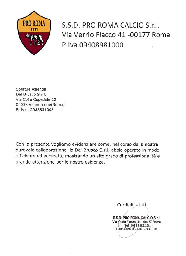Referenza SSD Pro Roma Calcio